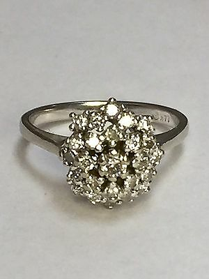 14k Solid White Gold Cluster Diamond Ring. 1/2 TCW. Size 6.5