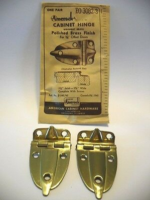 "Vintage NOS Wrought BRASS Cabinet Hinges 3/8"" Offset Doors Boat Trailer Amerock"