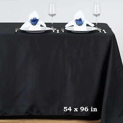 "Black POLYESTER 54x96"" RECTANGLE TABLECLOTHS Wedding Party Catering Dinner Linen"