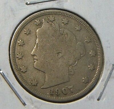 "1907~~ ""v"" Liberty Head  Nickel~~Vg"