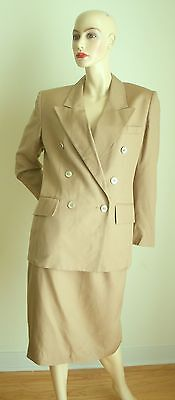Early 80s Vintage Christian Dior khaki rayon double breasted skirt suit 10P NWT