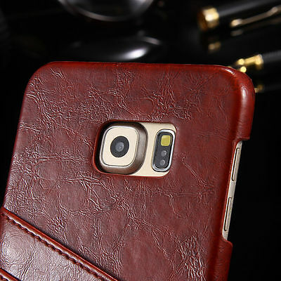 Luxury Leather Card Wallet Slot Case Cover for Samsung S7 Edge
