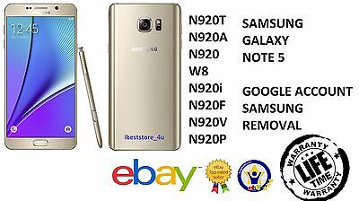 Galaxy Note 5 N920 Removal Google Lock, Samsung Account Bypass, FRP Lock Bypass