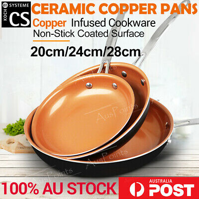 3 Sets Ceramic Copper Non-Stick Frying Pan Dishwasher Oven Safe Fry pan Cookware