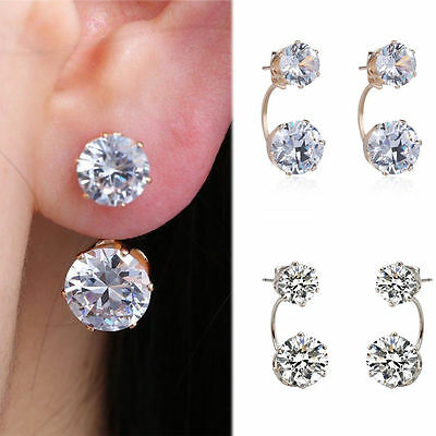 Women Jewelry 925 Sterling Silver Double Beads Crystal Hook Stud Earrings