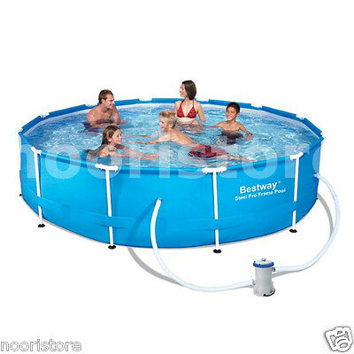 Large Bestway 12 ft Above Ground Frame Pool with Filter Kids Swimming Pools