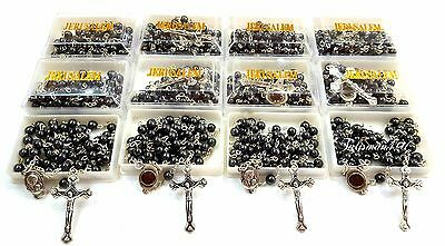 LOT 12 ROSARY Necklace Hematite Round Black Beads Holy JERUSALEM Soil Gift Box