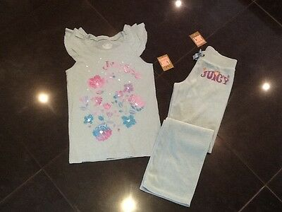 NWT Juicy Couture New & Gen. Girls Age 10 Green Velour Pants & T-Shirt & Logo