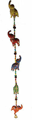 Ethnic Indian 79 cm Long Hanging 5 Elephant Mobile Wind Chime With Bell