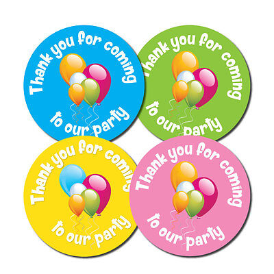 'Thank You For Coming To OUR Party' -  60mm diameter party stickers - 4 colours