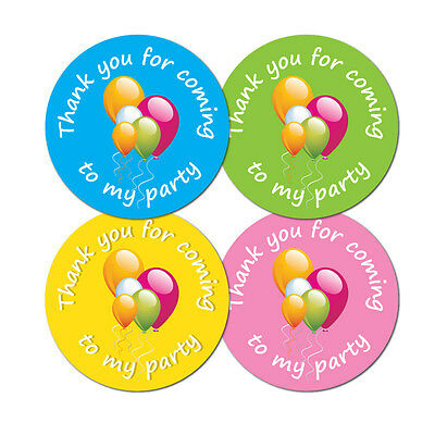 'Thank You For Coming To My Party' -  60mm diameter party stickers - 4 colours