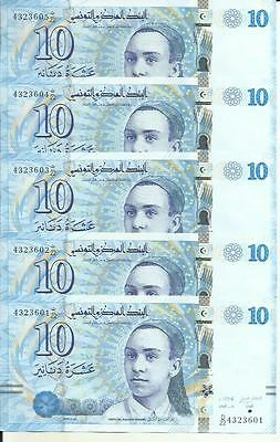 TUNISIA LOT 5x 10 DINARS 2013  P 96. UNC CONDITION. 4RW 21ABRIL