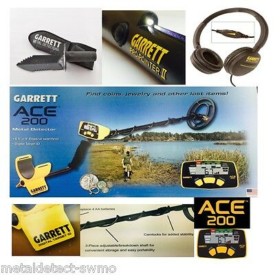 Garrett ACE 200 Metal Detector +  PROPOINTER II + EDGE DIGGER + CLEARSOUND H/P'S