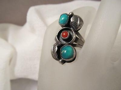 Old Vintage Navajo Silver Turquoise & Coral Ring