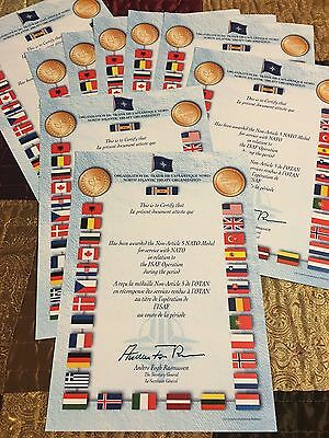 NATO Certificate ISAF + **Your Name & Rank printed on Authentic certficate**