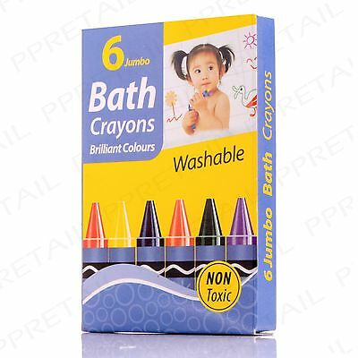 6 WASH OFF FUN BATH TIME COLOUR CRAYONS Kids/Children/Drawing/Tile/Toy/Washable