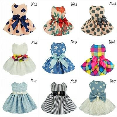 Fitwarm Sweetie Princess Dog Wedding Dress Pet Clothes Party Apparel Shirt Bows