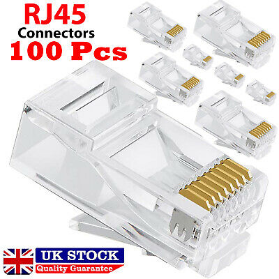 100x RJ45 Network LAN CAT6 Cable End Crimp Plug Connectors GOLD Pins Bulk Buy