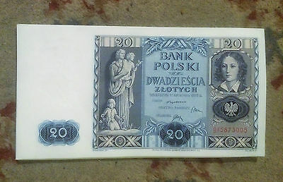 20 Zlotych Banknote POLAND 1936 - 'AU A' Condition (About Uncirculated)or EF+