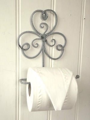 Shabby Chic French Grey Vintage Style Wall Mounted Toilet Roll Holder Loo Roll