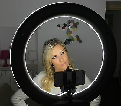 "SOCIALITE 18"" LED Dimmable Photo Video Ring Light Kit Incl Stand Iphone Adapter"