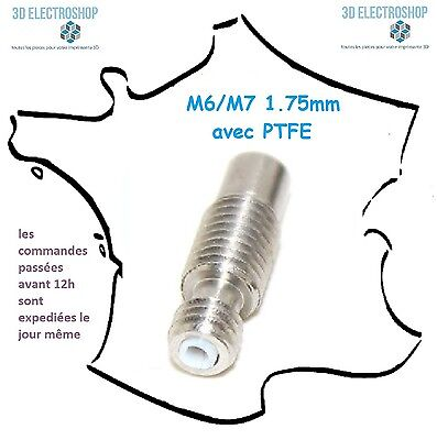 Tube M6/M7x22 inox avec teflon pour filament 1.75mm heat break Throat nozzle