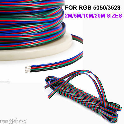 Brand New 2M 5M 10M 20M 4 Pin Rgb Extension Cable Wire For 3528 5050 Led Strip