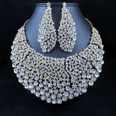 Starry Night Clear Austrian Rhinestone Necklace Earrings Set Bridal Prom N11900G
