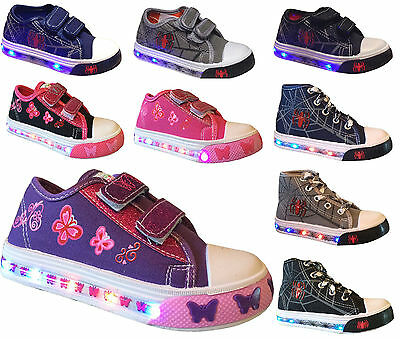 Light Up Baby Toddler Girls Boys Kid's  Strap Canvas Flat Sneaker Tennis Shoes
