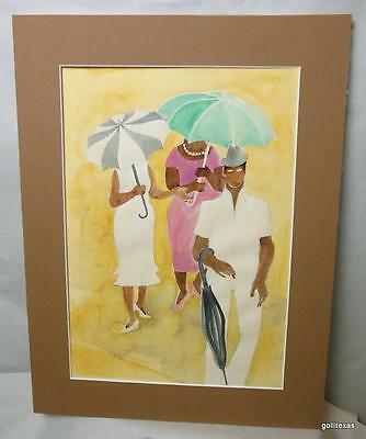 Original Watercolor Unsigned 2 Women and Man with Umbrellas Matted 18 w 14""