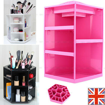 360° Rotating Cosmetic Organizer Make Up Beauty Box Brush Holder Cleanup Display