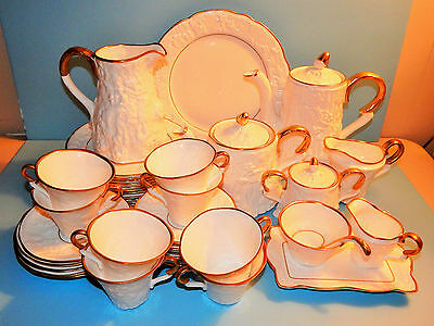 "Lovely Royal Stafford ""old English Oak"" 44 Piece Bone China Tea Set, Great Gold"