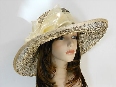 New Church Kentucky Derby Wedding Sinamay w Bow Wide Brim Zebra Dress Hat 637