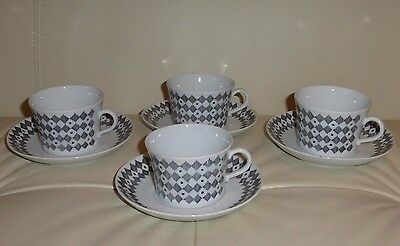 Upsala Ekeby Sweden Diamonds and Dots Cups and Saucers 1960s
