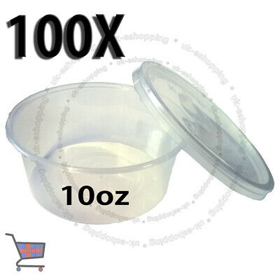 100 Round Food Containers Plastic Clear Storage Tup with Lids Deli 10oz 120x46mm