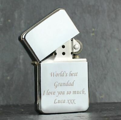 Personalised Silver Lighter Engraved Petrol Custom Text Birthday Gift Father