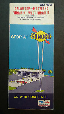 Vintage 1968,69 Sunoco Advertising Road Map Delaware Maryland West Virginia Oil