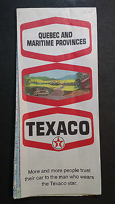 Vintage 1969 Texaco Oil COmpany Road Map Quebec and Maritime Provinces