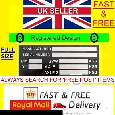 Trailer Weight Plate Plant Recovery Id Horse Box All-Blank-Vin-Chassis-Plates T1