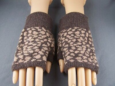 Brown Camel cheetah leopard wool angora arm warmers fingerless gloves texting