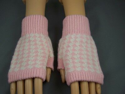 Pink Cream wool angora arm warmers fingerless gloves texting open thumb