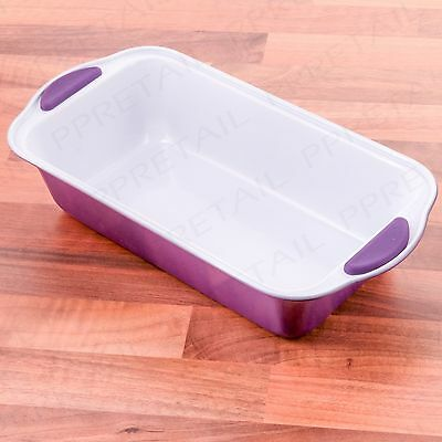 30cm Long Non-Stick Purple Rectangle Baking Tin Silicone Handles Deep Loaf Tray