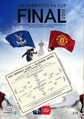 FA CUP FINAL PROGRAMME 2016 Man United v Crystal Palace + FREE 1886 FA Cup Final
