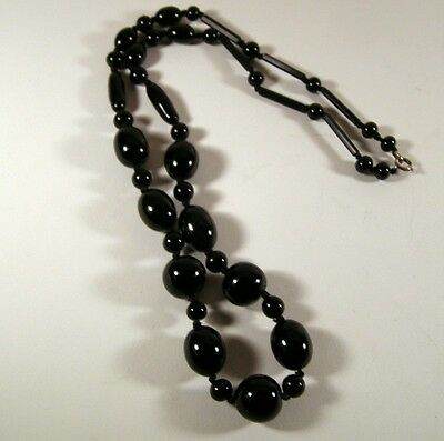 Antique Victorian French Jet Mourning Necklace Hand Molded & Double Knotted