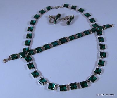 Art Deco Sterling Czech Open Back Emerald Glass Necklace Bracelet & Earrings