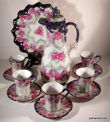 Antique Nippon Cobalt with Roses & Spiderwebs Gilt Chocolate Dessert Set 12 Pcs