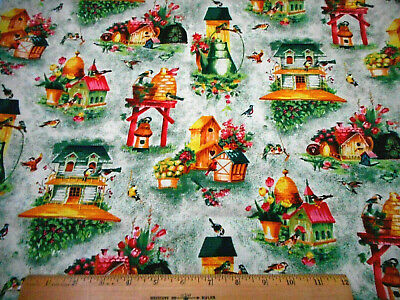 Floral Fabric 1 7/8 Yard Pink Yellow Floral Bird Houses Mottled Green Cotton #C
