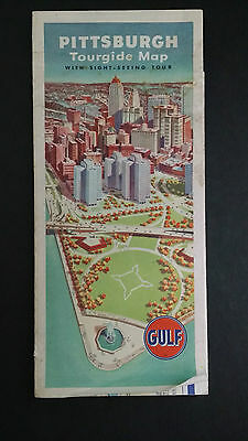 Vintage 1963 Pittsburgh Tourgide Map GULF Oil Company Tourist City
