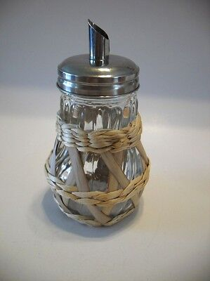 Vtg Swirled Glass Pear Shape SUGAR / CREAMER Shaker Chrome Lid Woven Outer Grip