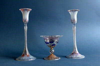 art nouveau  two candlesticks and coupe